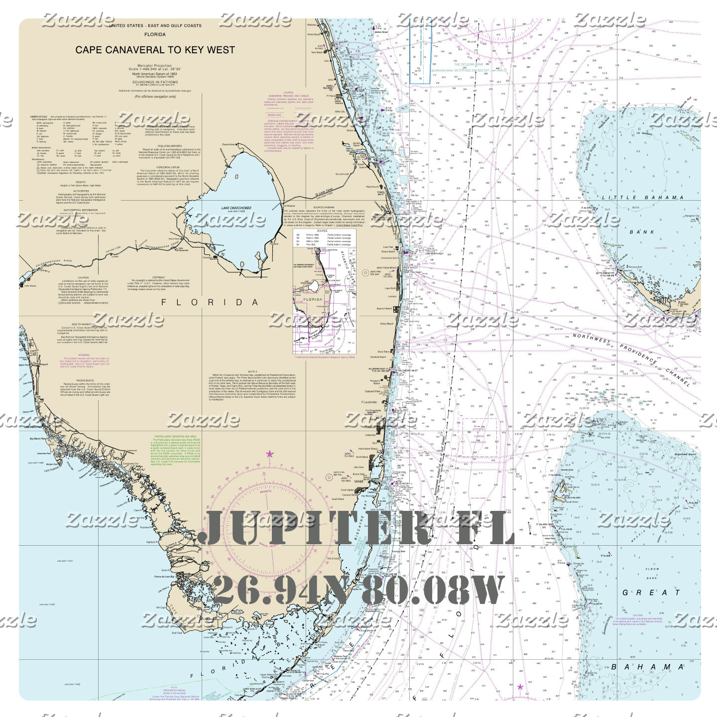 Nautical Boating Charts: Jupiter Florida