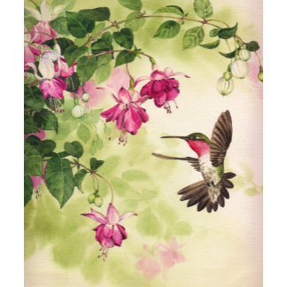 """""""Hummingbird with Flowers Poster Print"""""""