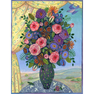 """""""Colorful Flowers in Vase Poster Print"""""""