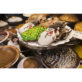 Christmas cookies on display in a New York city