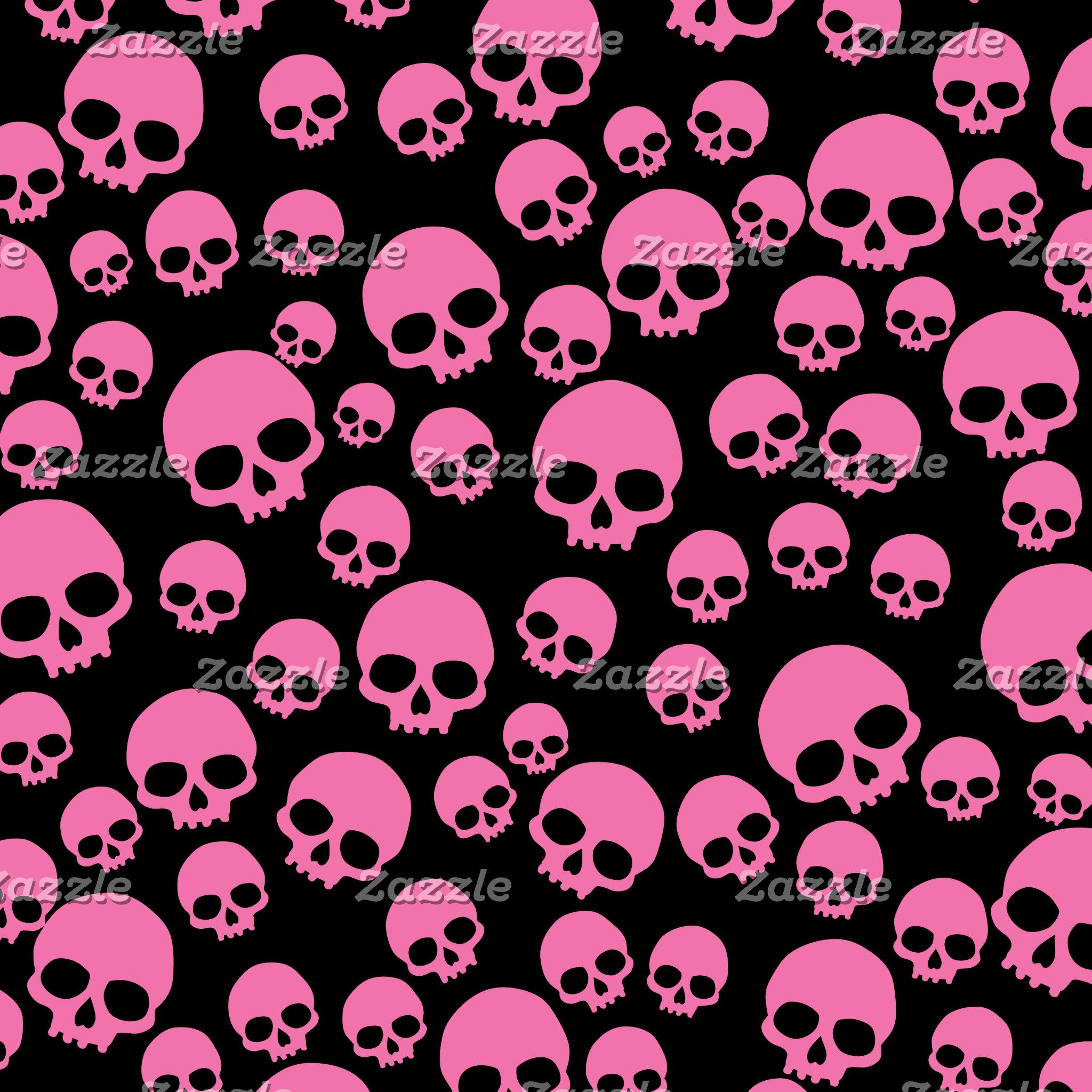 Pink And Black Random Skull Pattern