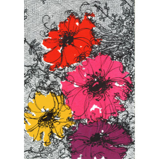 """""""Flowers on Lacy Background Poster Print"""""""
