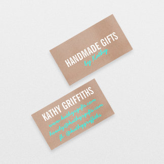 Rustic modern teal brown kraft paper handmade diy