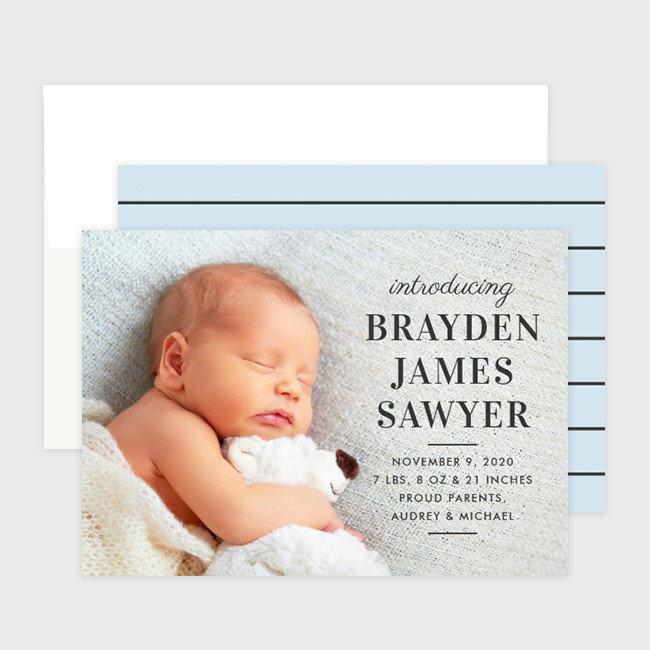 Baby Boy Photo Card Birth Announcements 💙