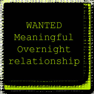 WANTED - Meaningful Overnight Relationship