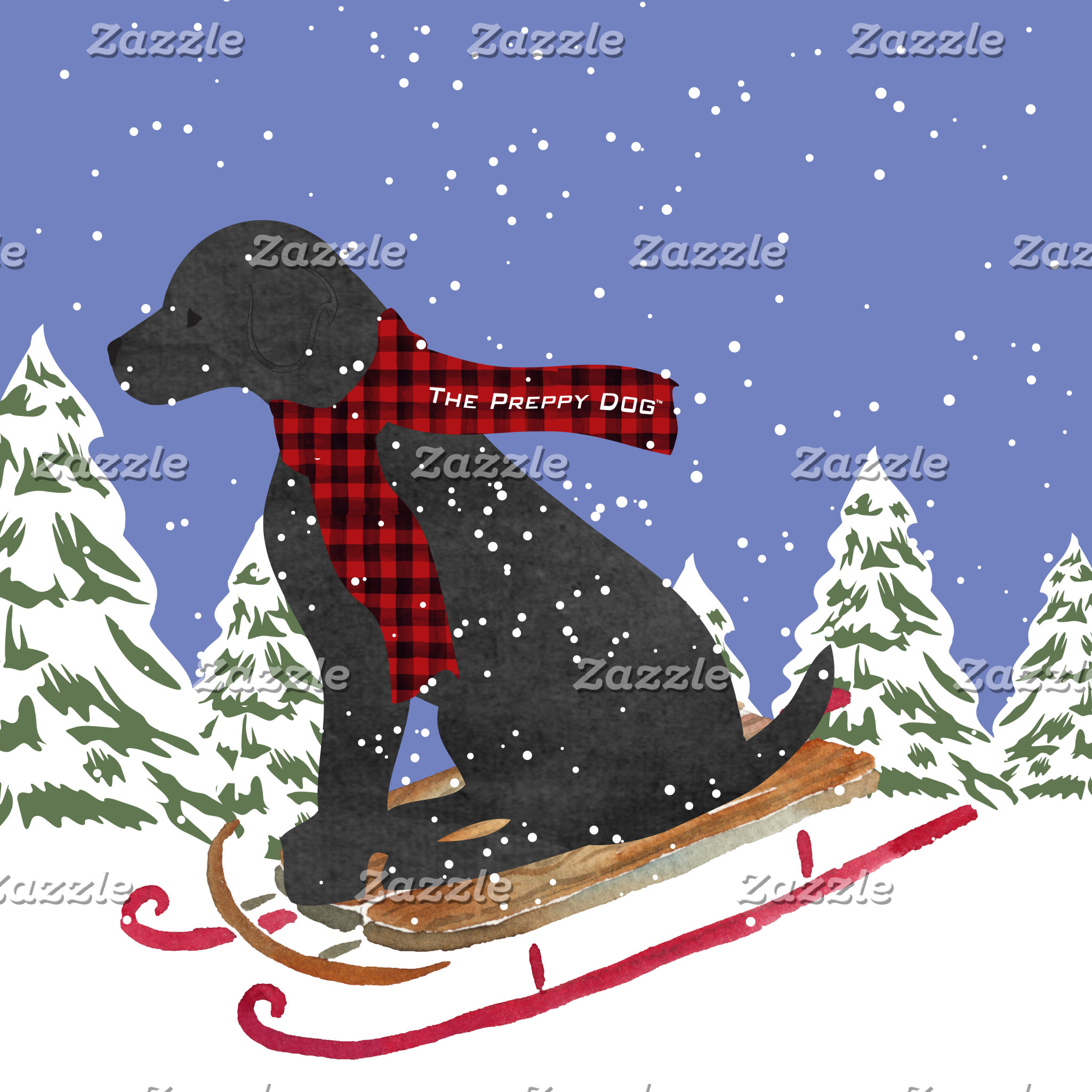 Black Lab Winter Preppy Dog Sledding