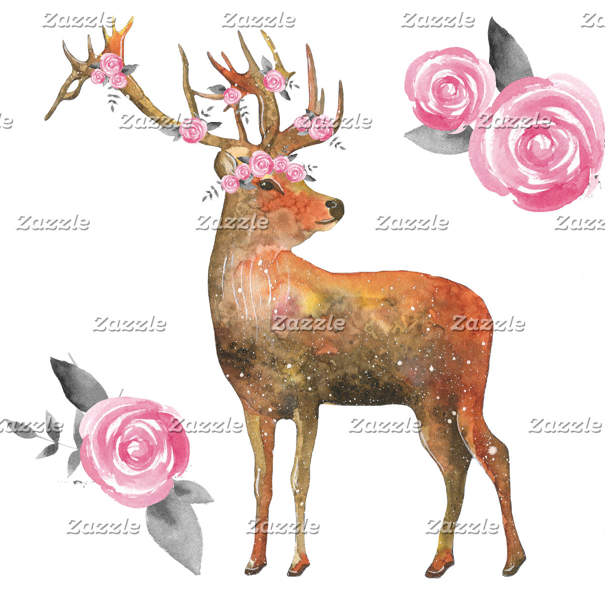 Deer and Flowers