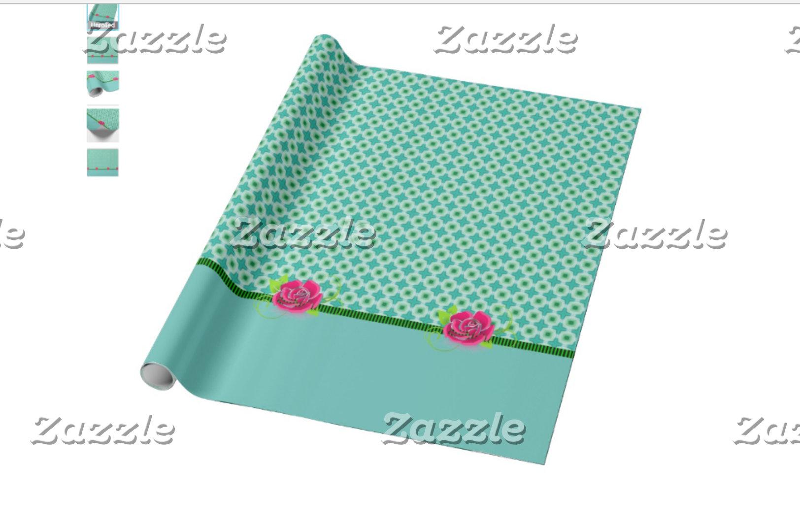 Aqua & Green Polka Dots with Roses