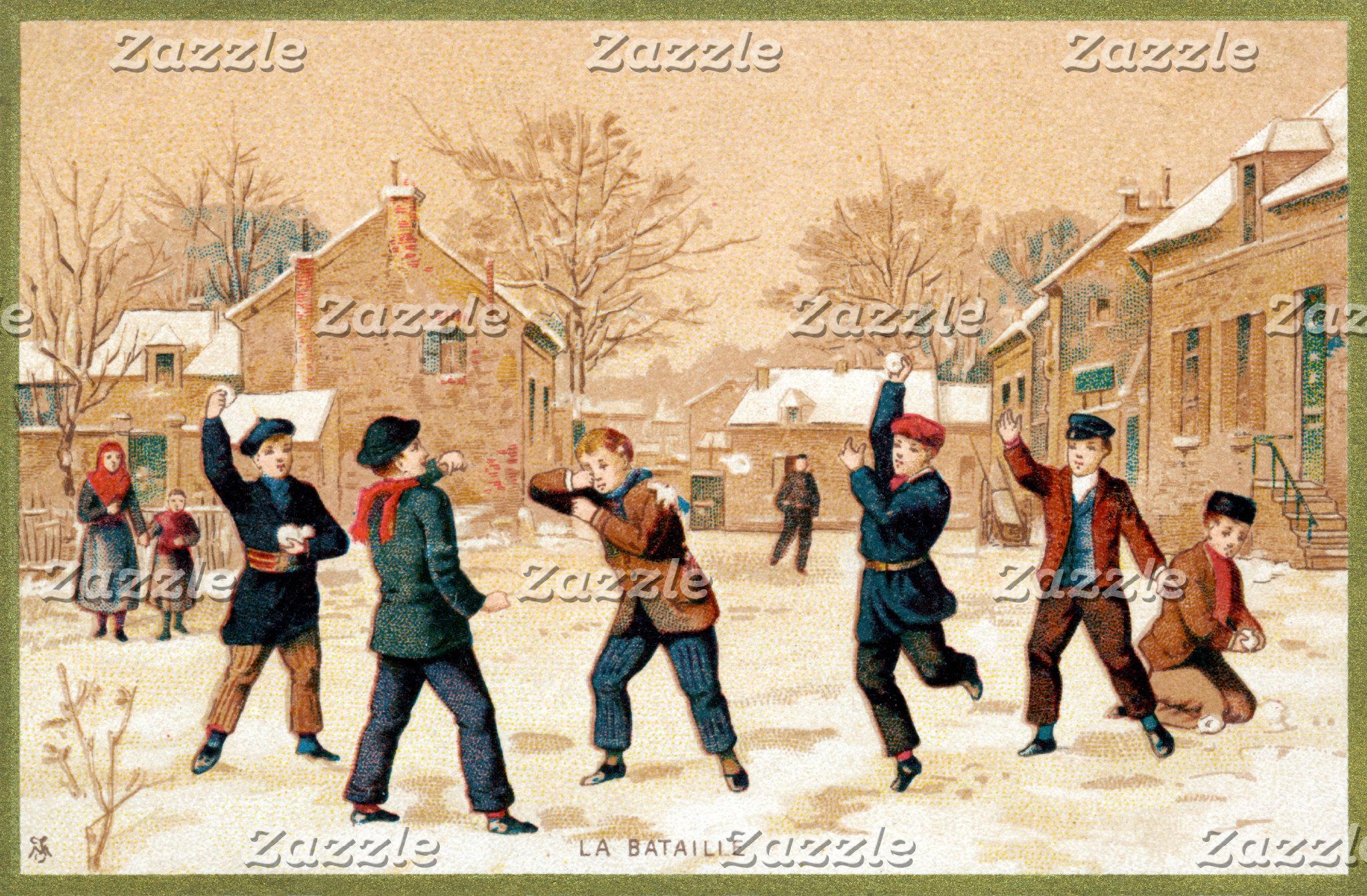 19th C. Snowball Fight
