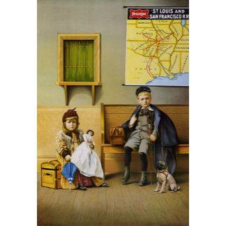 Boy & Girl at railroad station