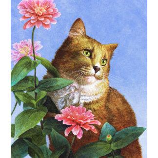 """Orange Cat with Zinnia Poster Print"""
