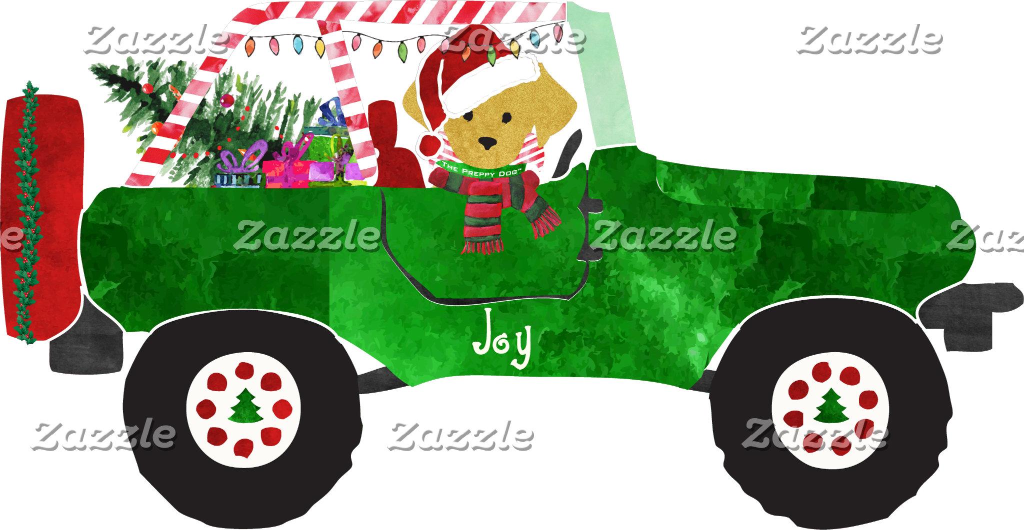 Retriever Christmas Jeep