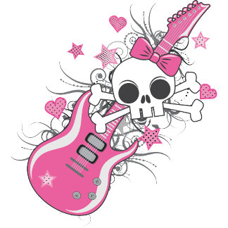 Cute Skull with Pink Guitar