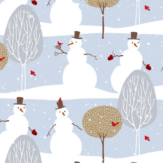 trendy snowmen with cardinals and trees