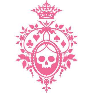 Pink Skull and Cardsuits Crest