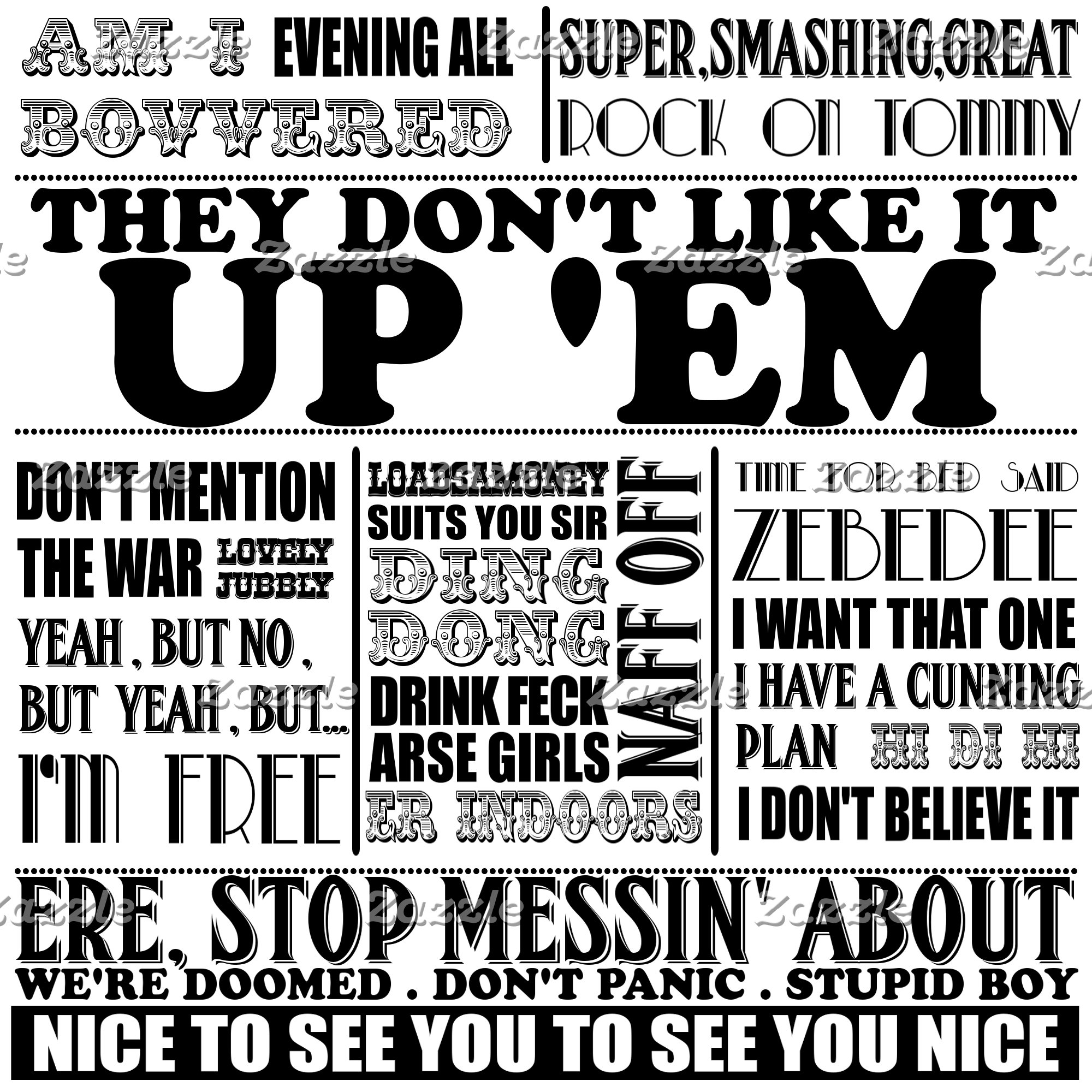British television catchphrases T shirts