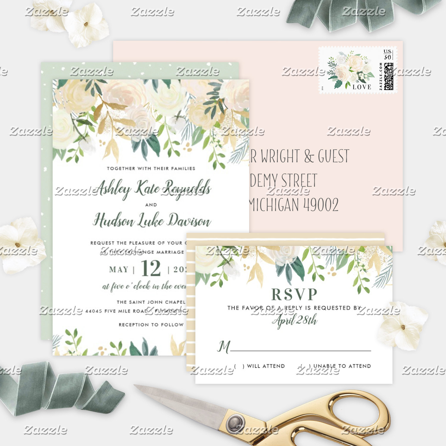 Wedding Collection | Neutral Watercolor Blooms