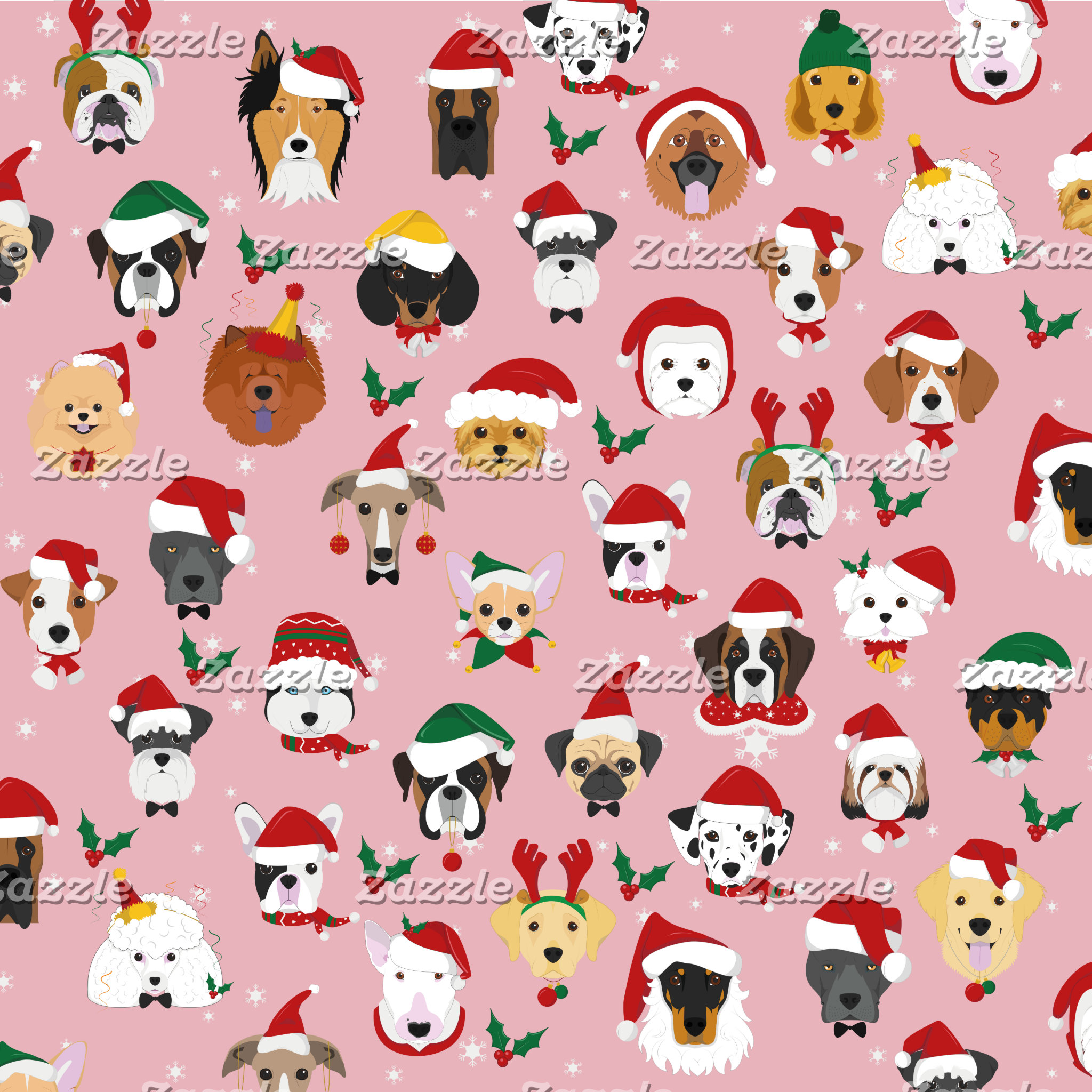 Christmas Dog Pattern Illustration