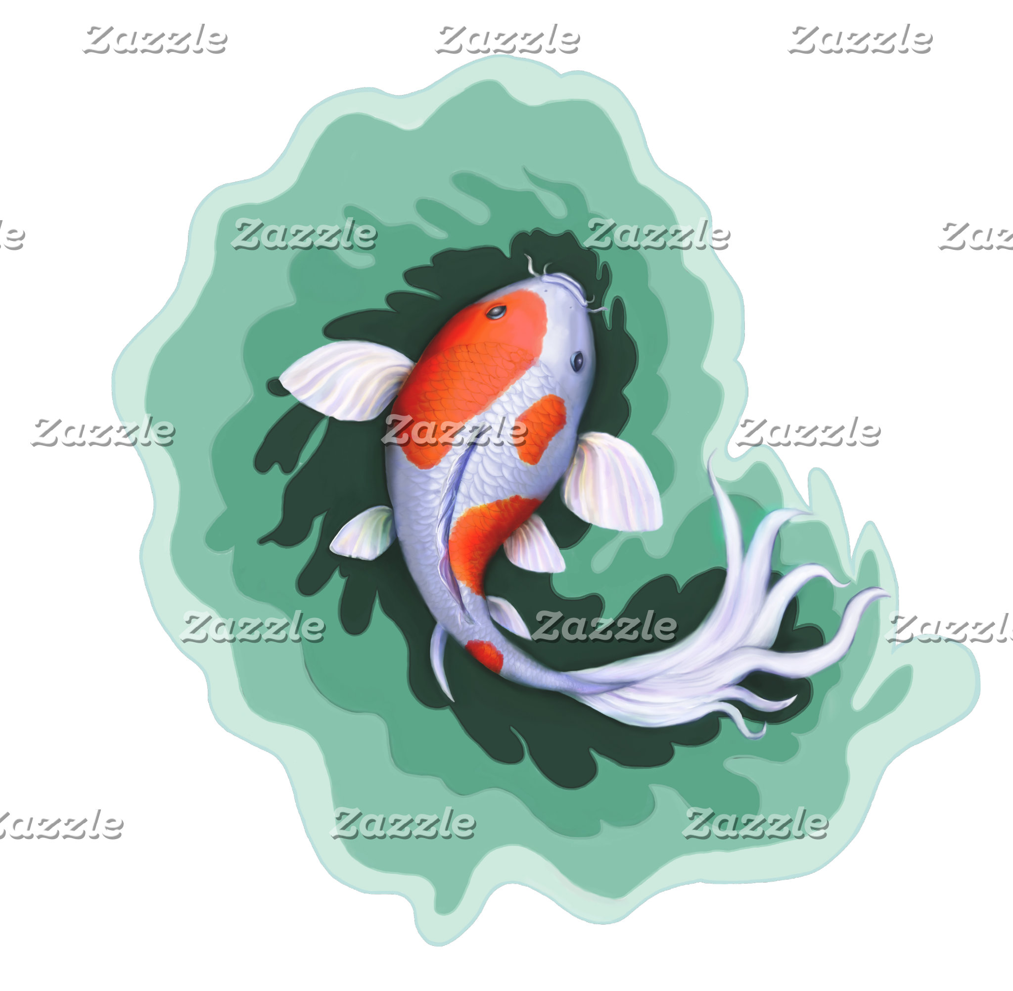 Orange and White Koi Fish
