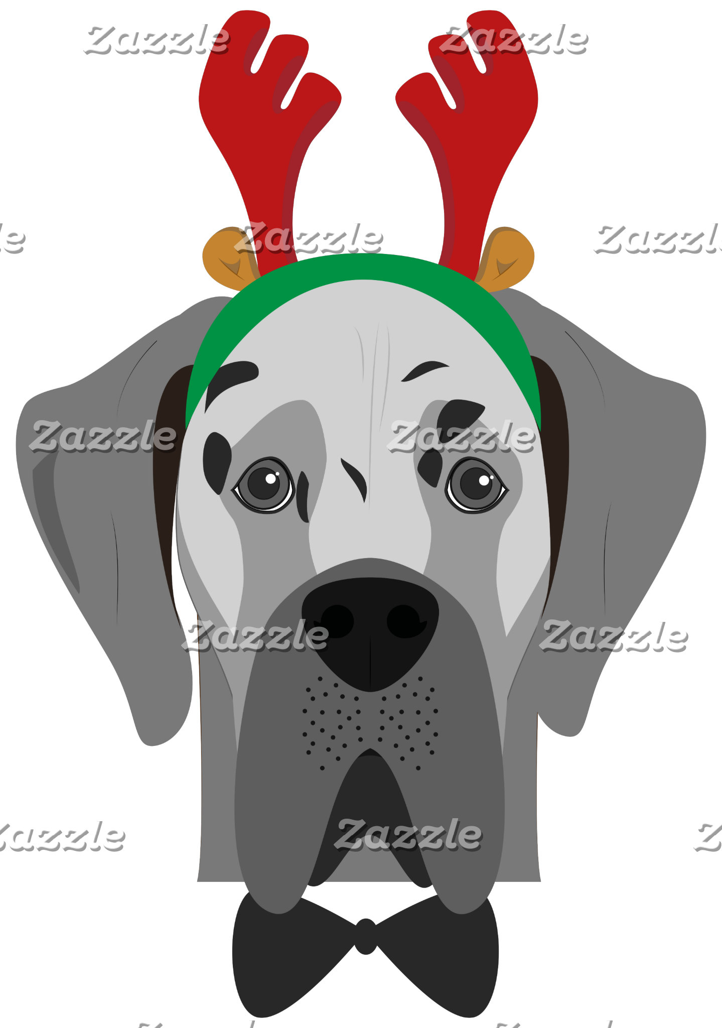 Great Dane Christmas Dog Portrait