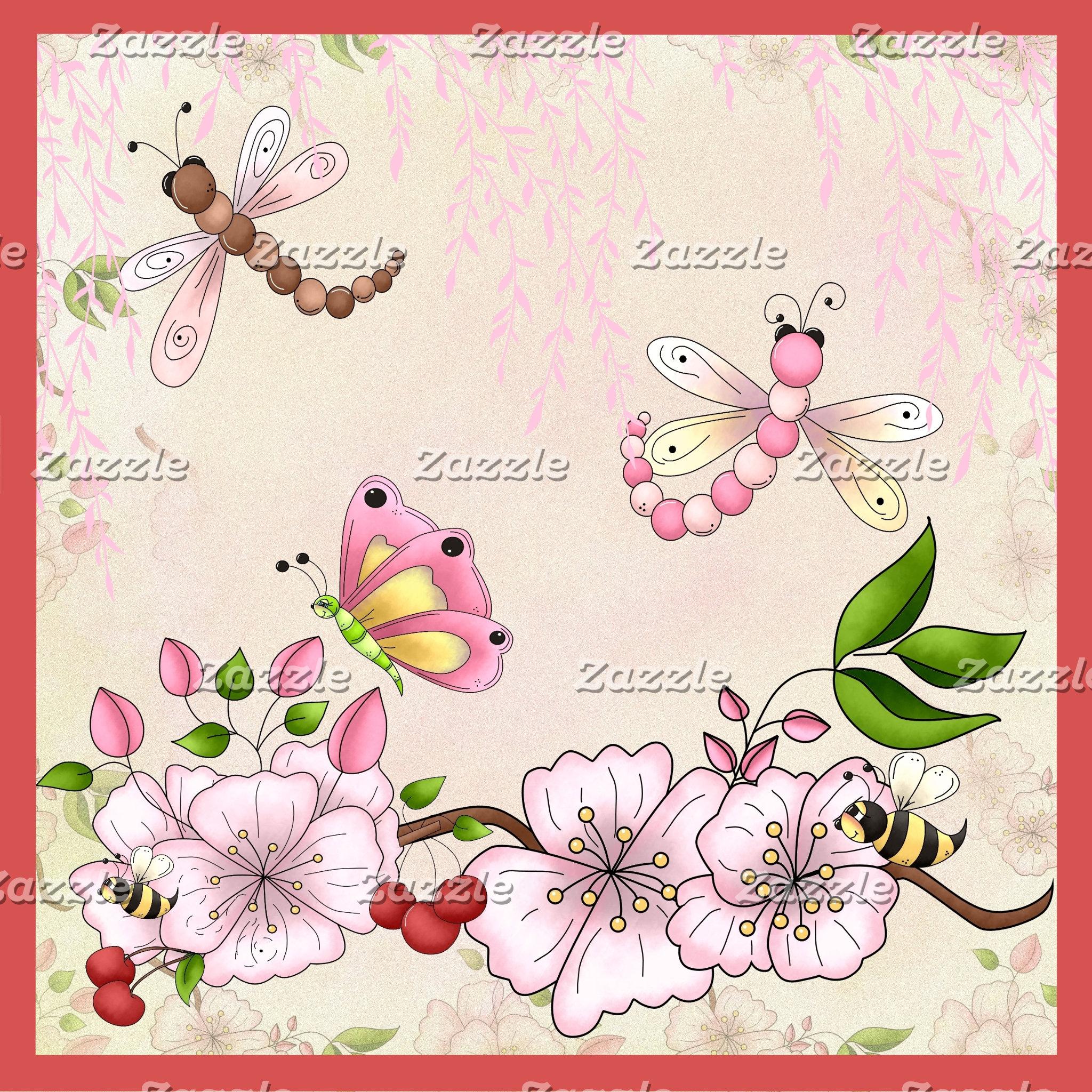 Cherry Blossoms, Garden Flowers
