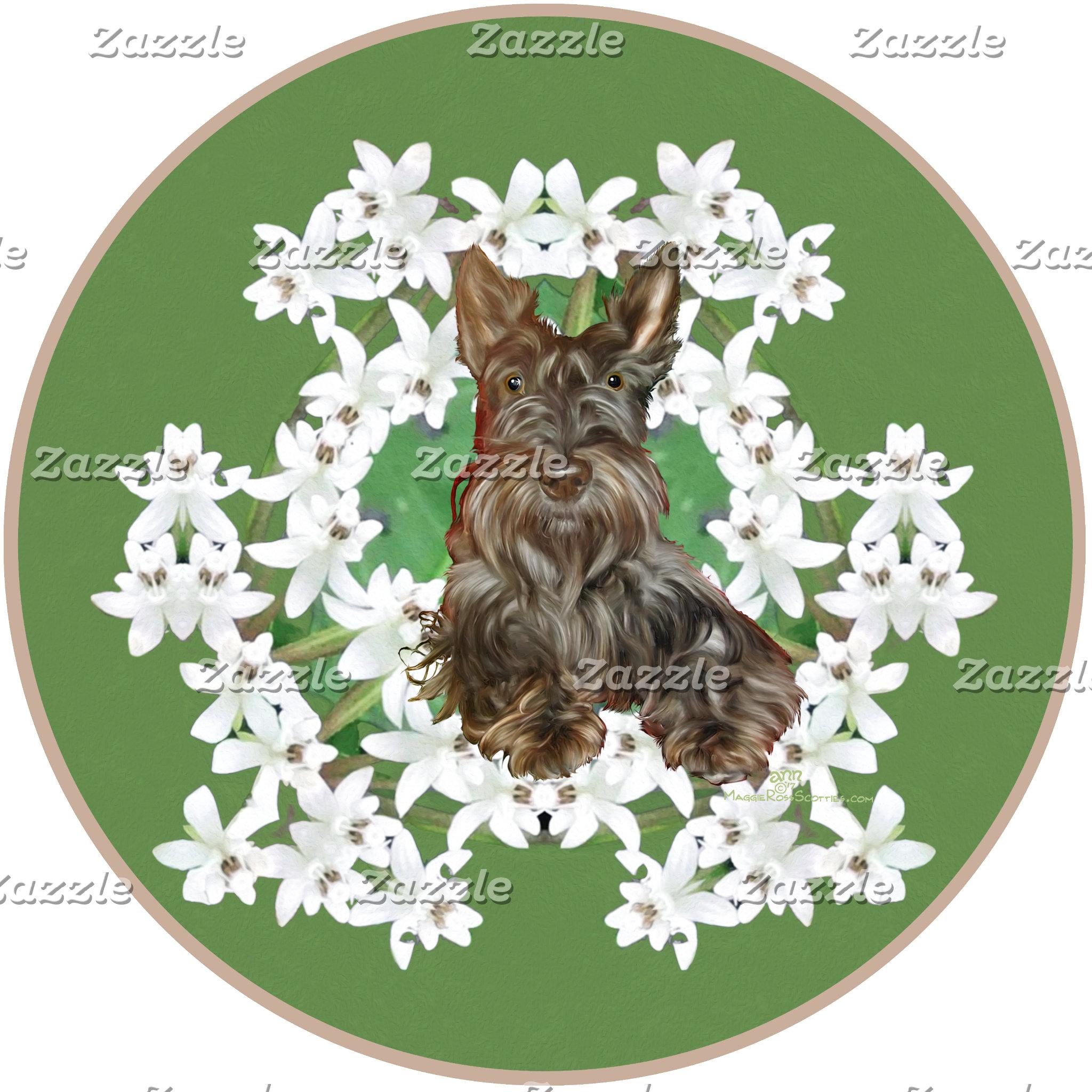 Scottish Terrier White Flowers