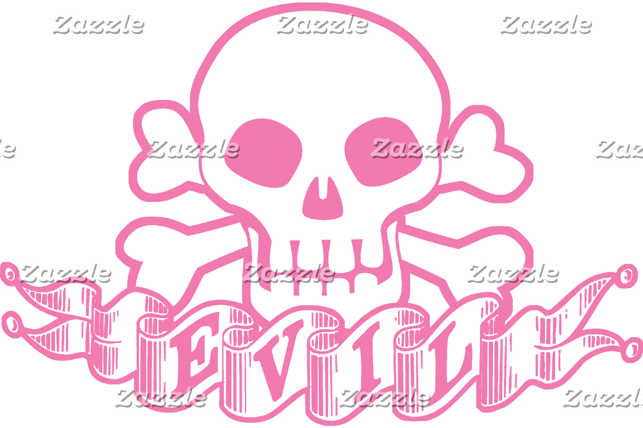 Evil Pink Skull And Crossbones T-shirts and GIfts