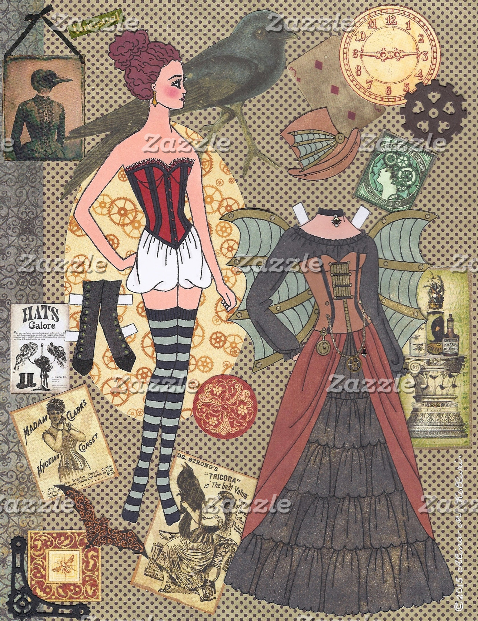 Original Paper Doll Art by Alina