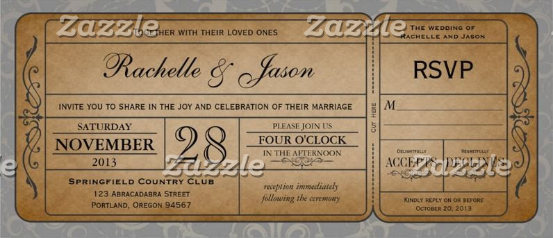 Vintage Wedding Ticket with RSVP collection I