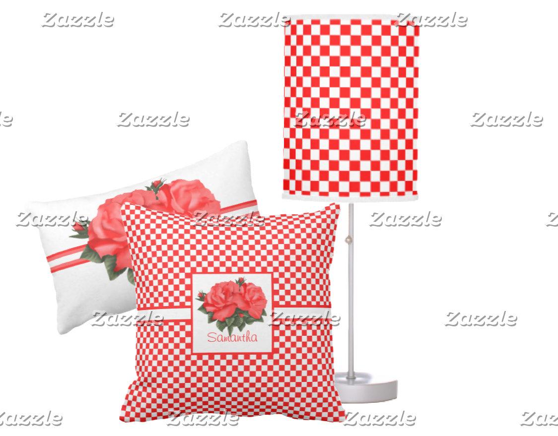 Retro Red & White Checkered & Rose Flower