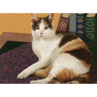 """""""Calico Cat with Books Library Poster Print"""""""