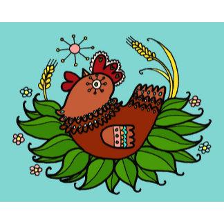 Hen and Rooster Rooster Ukrainian Folk Art
