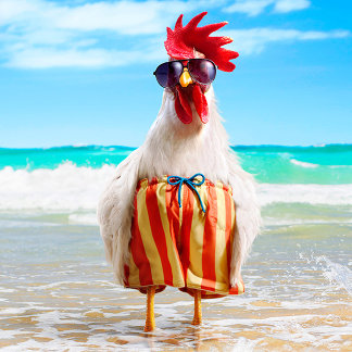 Rooster Dude Chillin' at Beach in Swim Trunks