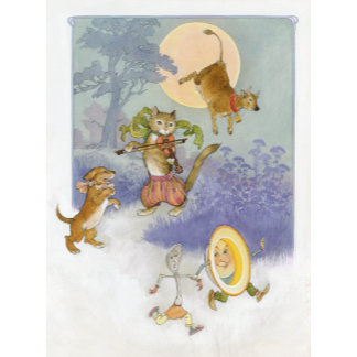 """""""Hey Diddle Diddle Mother Goose Poster Print"""""""