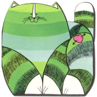 """Green Striped Cat Poster Print"""