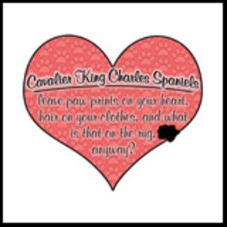 Cavalier King Charles Paw Prints on Heart Humor