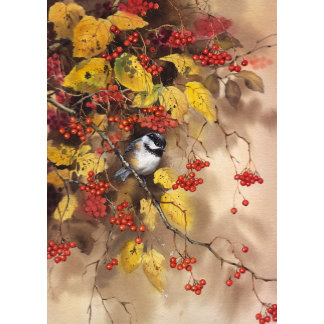"""""""Bird on Branch with Berries Poster Print"""""""
