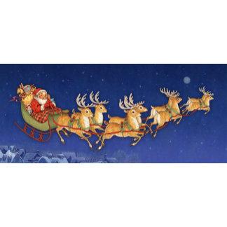 santa flying with reindeer