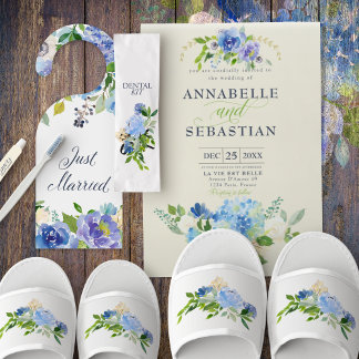 Blue Watercolor Flower Wedding