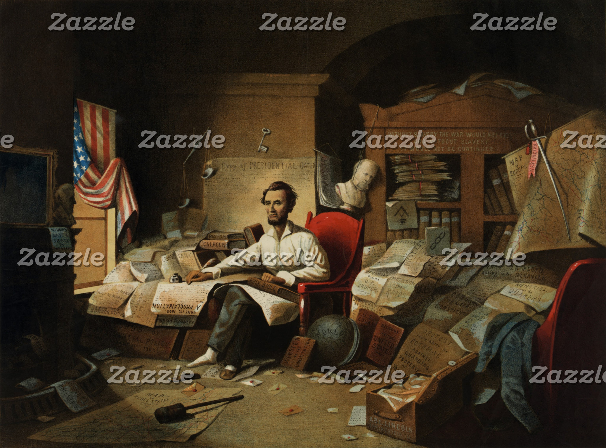 Abraham Lincoln in socks and slipper