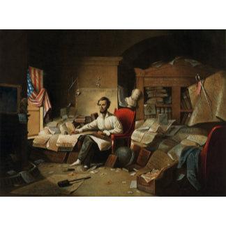 Abraham Lincoln in socks and slipper