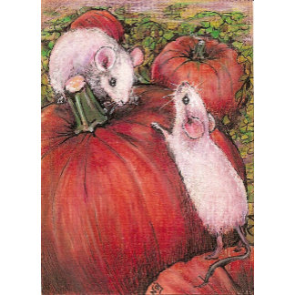 White Mice in the Pumpkin Patch