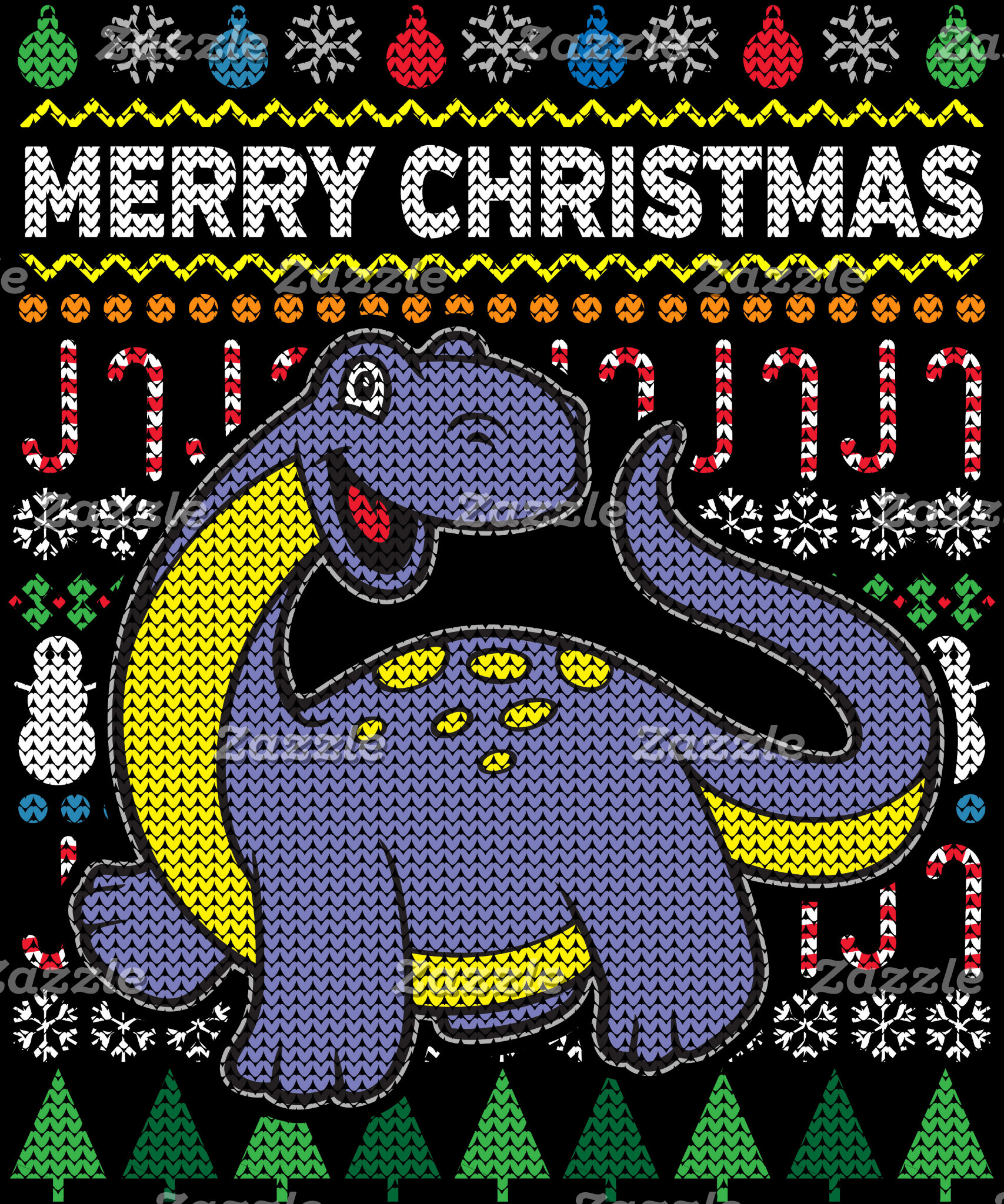 Dino Purple Ugly Christmas Sweater