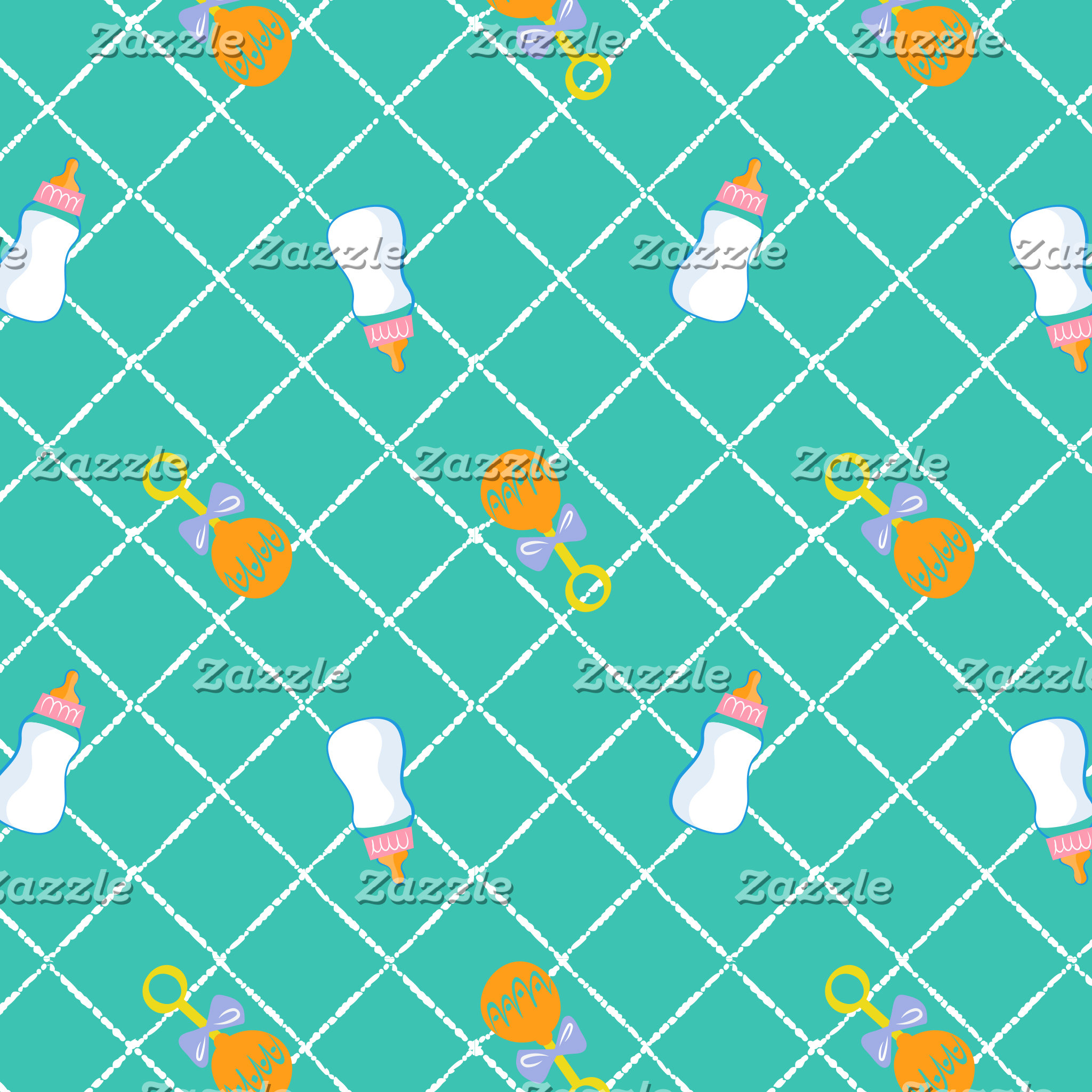 Teal Bottle & Rattle Pattern