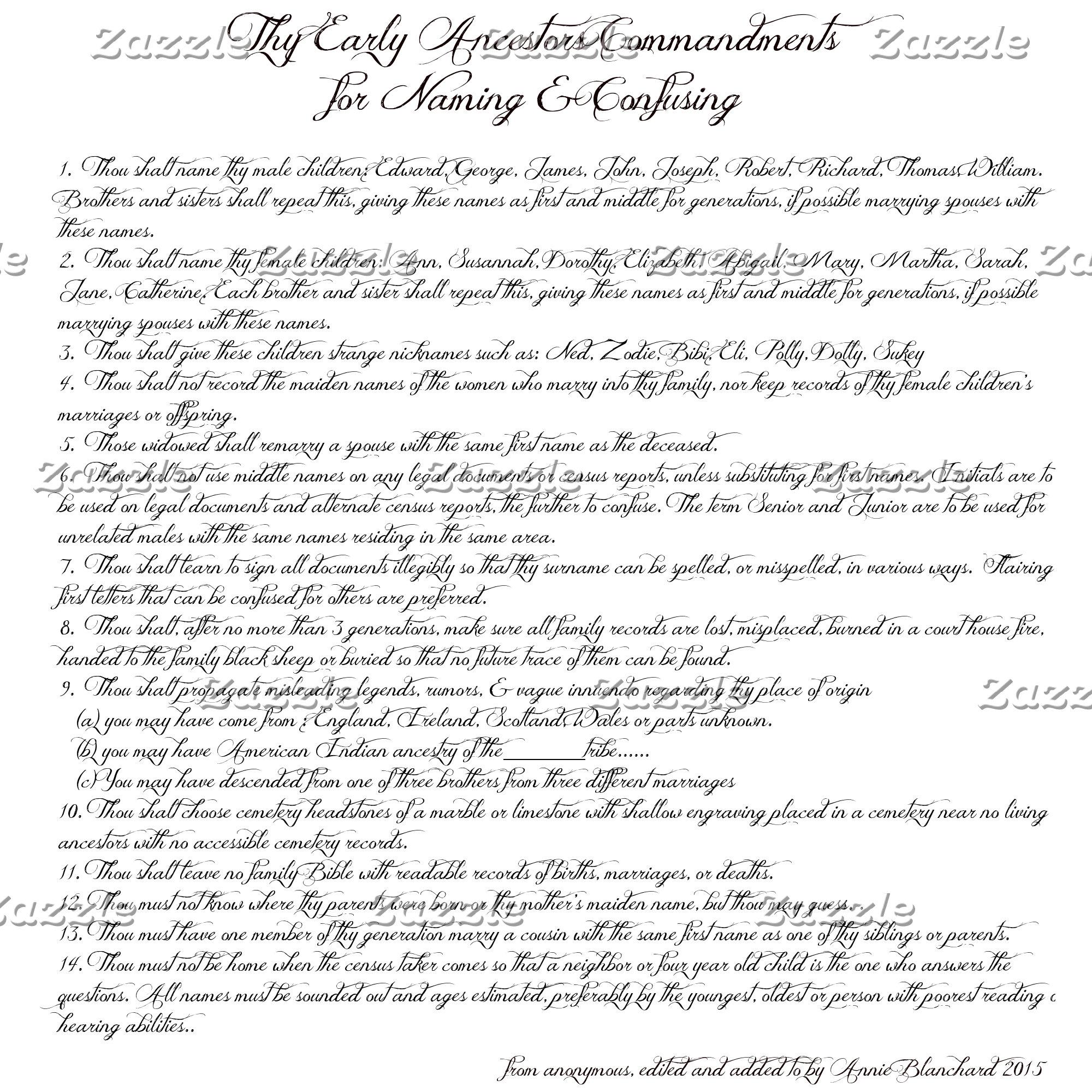 Humor - Early Ancestor Commandments