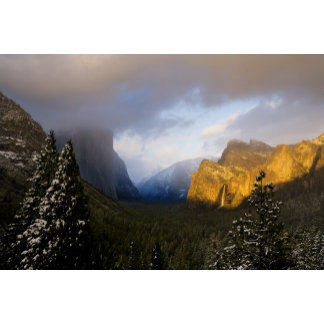 Golden light paints Yosemite Valley's Bridalveil