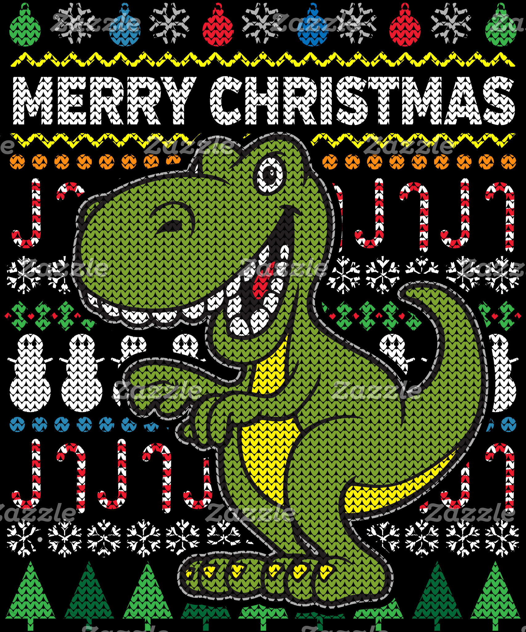 Dino Green Ugly Christmas Sweater