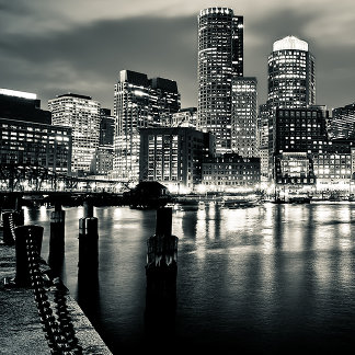 This is a black-and-white shot of the Boston