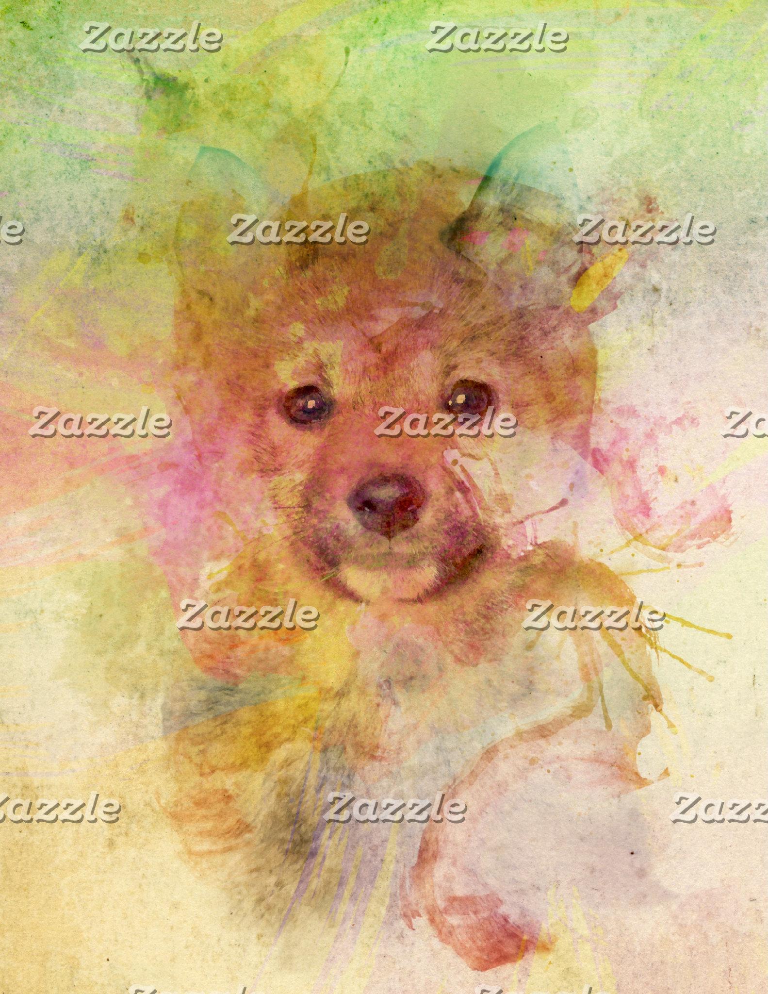 Water Color Shiba Inu Puppy