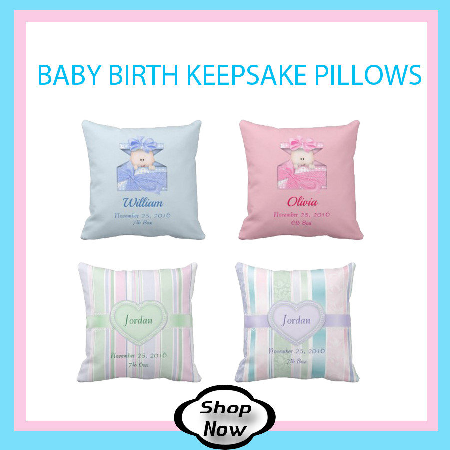 Baby Birth Stats Nursery Pillows